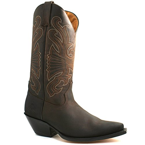 Grinders Mens Buffalo Brown Leather Cowboy Western Tall Pointed Boots-UK 7 (EU 41) (Tall Winter Boots Für Männer)