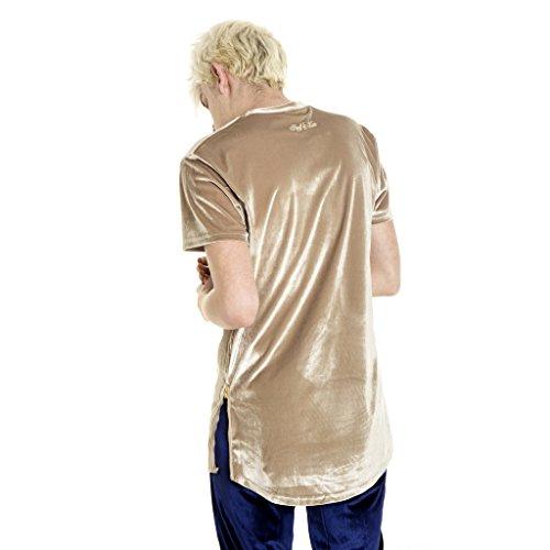 Pizoff Unisex Hip Hop Samt T-Shirt aus Velours mit seitlichen Reißverschlüssen in Versch.Farben Y1520-Camel