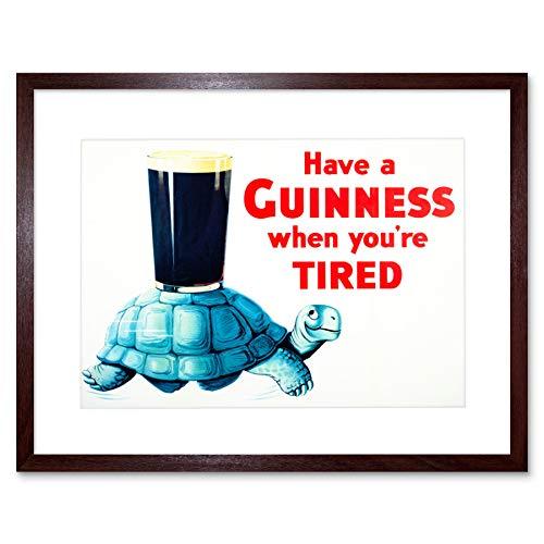 The Art Stop AD Drink Alcohol Irish Stout ALE Tortoise Blue Shell Glass Framed Print F12X2208