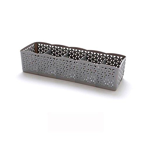 Fuibo Make up Organizer, 5 Zellen Kunststoff Organizer Aufbewahrungsbox Krawatte BH Socken Schublade Kosmetikteiler |Make-up Veranstalter Aufbewahrung Schublade Box (Grau)