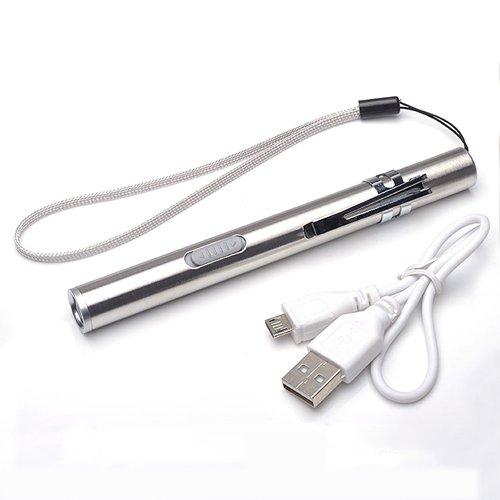 Flashlighx Lampe-Torche Rechargeable USB de Haute qualité Lampe-Torche puissante de Haute qualité Mini Torche Cree en Acier Inoxydable avec Clip en métal