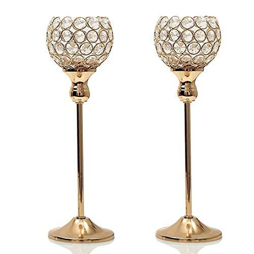 (VINCIGANT Weihnachten Gold Kristall Kerzenhalter für Jubiläumsfeier Hochzeit Couchtisch Dekorative Mittelstücke, 35cm hoch, 2er Set)