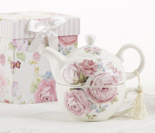 Delton Porcelain Tea for One in Gift Box, Rose
