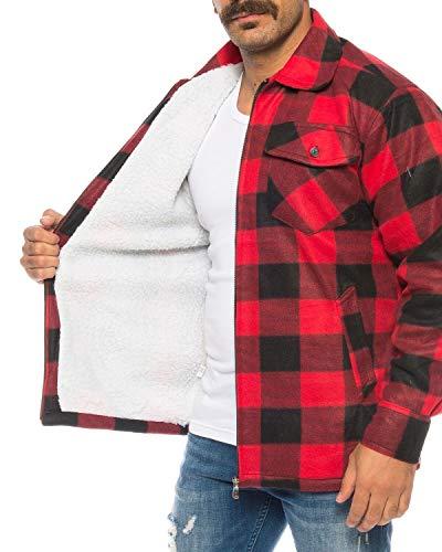 flanellhemd rot schwarz kariert Holzfällerhemd Arbeitshemd Flanellhemd/Jacke Kariert Thermohemd gefüttert 05 (XL, Rot/Schwarz)