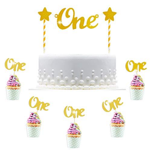 Hifot tortendeko geburtstag 1, 30pcs One Cupcake Topper Dekorationen, Kuchen Lebensmittel Dekoration Gold 1 Kuchen deko Kuchenaufsätze für baby Junge Mädchen - Geburtstag Cupcake