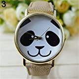 E-House Panda Supplies - Reloj de pulsera analógico de cuarzo para mujer, diseño de panda redondo, sin puntera, piel sintética, color negro