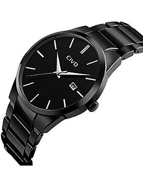 CIVO Herren Uhren Luxus Schwarz Edelstahl Band Datum Kalender Uhr Männer Wasserdichte Analog Quarzwerk Armbanduhr...