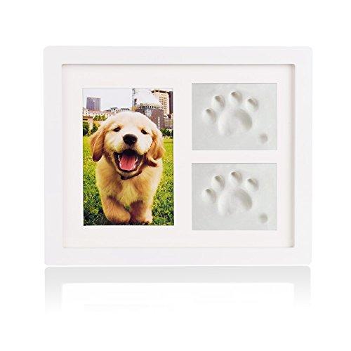 Petacc Bilderrahmen Hundepfote Fotorahmen Gedenkstein Hund/Katze mit Lehm für Pfote von Hund/Katze (Weiß)
