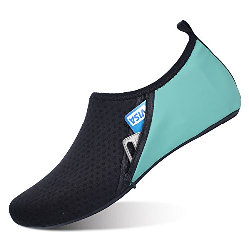 JIASUQI Sportlich Barfuß Wasser Skin Schuhe Aqua Socken für Frauen Strand Schwimmen Zip Grün, 38/39 EU -