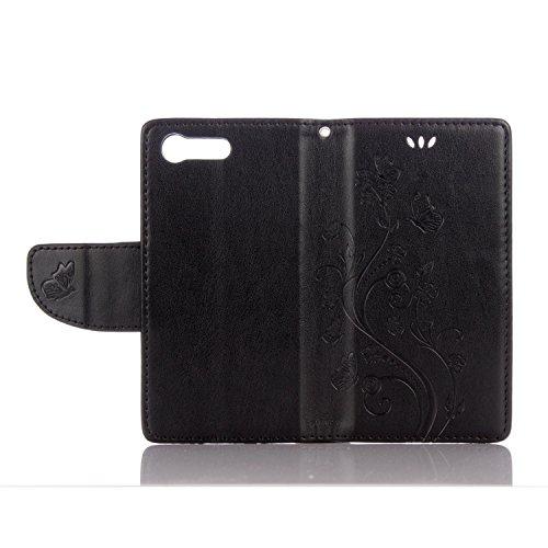 Sony X Compact Cover Protettiva, Alfort 2 in 1 Custodia in Pelle Verniciata Goffrata Farfalle e Fiori Alta qualità Cuoio Flip Stand Case per la Custodia Sony X Compact Ci sono Funzioni di Supporto e P Nero
