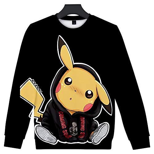 Pokemon Kostüm Können - WQWQ Langarm Herren und Damen Slim Pokemon Shirt Pikachu Weihnachten Sport Rundhals Sport Casual Langarm Pokémon Kostüm L XL XXL,B,M