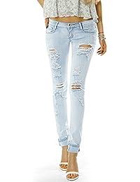 Bestyledberlin Damen Jeans Hose Hüftjeans Skinny Röhrenjeans Jeanshose röhre zerrissenes Knie j18ab