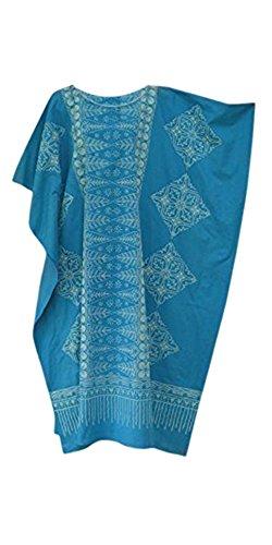 Cool Kaftans Damen Bluse Malaya Schwarz Violett Rot Feiner Batikdruck Baumwolle Strandkleid Übergröße Neu - Blau, Regulär (Afrikanischer Kaftan)