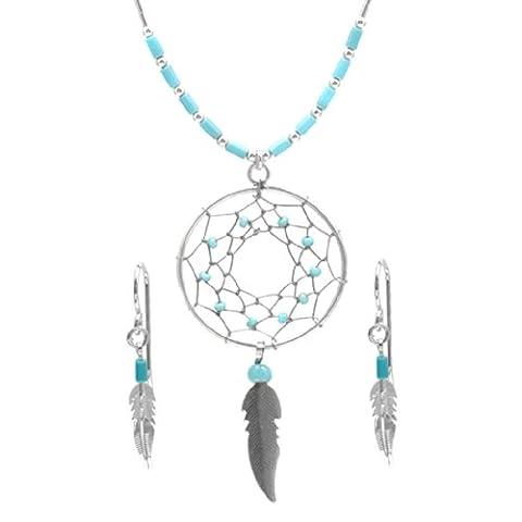 Sterling Silber Türkis Imitation Set Ohrringe Halskette 46 cm