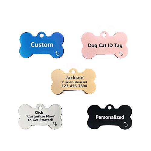 Amakunft Etiquetas Personalizadas para identificación de Perro, Etiquetas Personalizadas de identificación para Mascotas, Etiquetas de Hueso de Perro grabadas en Acero Inoxidable para Perros y Gatos