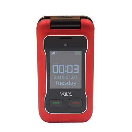 Voca v530 sbloccato 3g flip phone, doppio schermo con tasto grande, testo predittivo, multilingue, tasto sos, con apparecchi acustici, facile da usare, ottimo per gli anziani, rosso