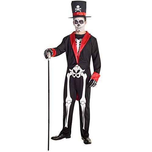 Esqueleto con calavera de azúcar del Día de los muertos Disfraz