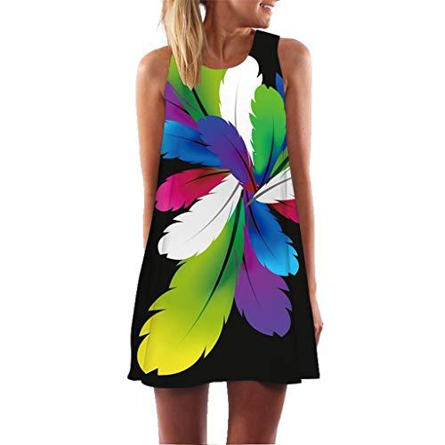 MRULIC Damen Lovely Mini Floral Printing A-Linie Kleider Beach Dress Vintage Boho Frauen Sommer Ärmelloses Party Kleide(A10-Mehrfarbig,EU-38/CN-S) - Baumwolle Thermo Tank Top