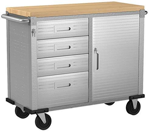 Seville Classics UHD20244 Werkbank mit 4 Schubladen, Metall pulverbeschichtet, Buche Holzarbeitsplatte, 121,9 x 50,8 x 95,2 cm, grau - 5