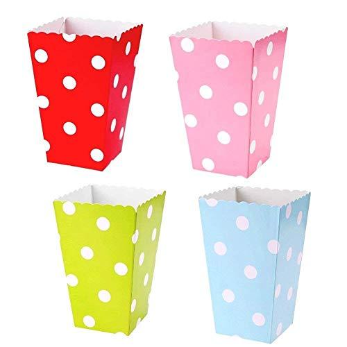 JZK 48 Tupfen Mehrfarben Popcorn Candy Boxen Popcorn Tüte Papertüte für Mitgebsel, Kindergeburtstag, Party Snacks, Süßigkeiten, Popcorn und Geschenke, Rosa Blau Rot Grün, 11,5 x 7 cm (Kleine Popcorn-boxen)