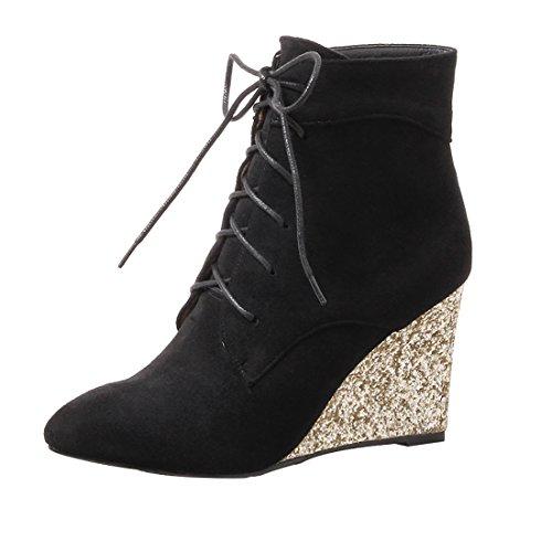 UH Chaussures Femmes Bottines Talon Compensees avec Dentelle sans Plateforme Bout Pointu Douce et Chaud Noir