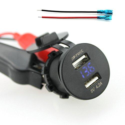 Dual-USB-Interruttore-Sul-Pannello-Di-Tensione-Presa-Di-Ricarica-Voltmetro-Bilanciere-Per-La-Barca-Auto