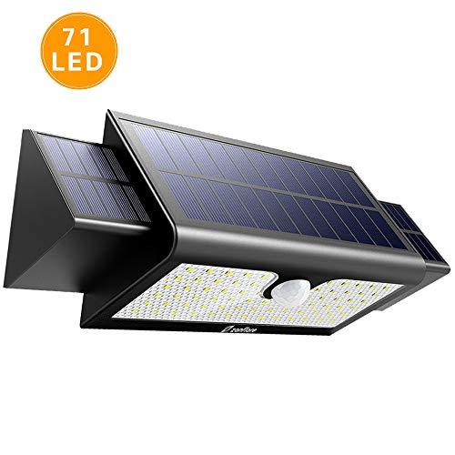 El diseño de 71 LED ofrece un nivel de iluminación muy brillante para un área grande de 13-26 pies, que proporciona una mejor distancia de visión para entradas y patios enteros. Además, 2 paneles solares adicionales aumentan el 66.25% de la energía s...