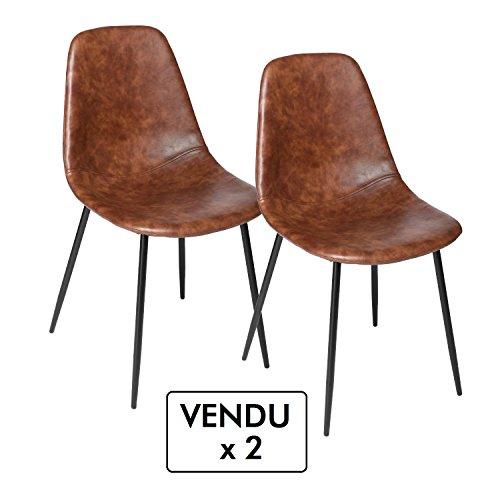 Lote de 2 sillas vintage - Estilo Industrial - Color MARRÓN envejecido