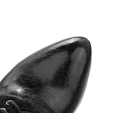 LFNLYX Damen-Stiefel-Outddor / Büro / Lässig-Kunstleder-Stöckelabsatz-Absätze / Plateau / Modische Stiefel-Schwarz / Rot / Weiß / Silber Black