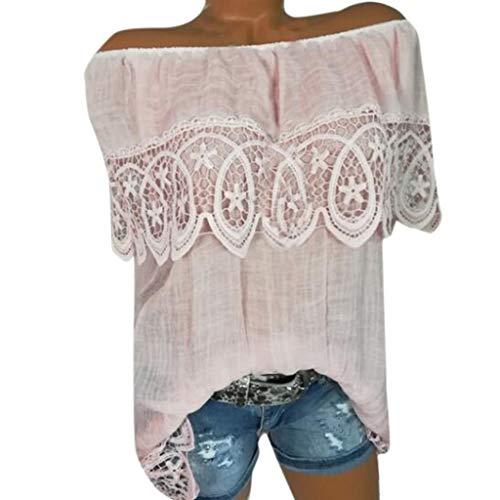 Zegeey Damen T-Shirt GroßE GrößEn ÄRmelloses Rundhals Stickerei Sommer Oberteil Blusen Shirts Tops LäSsige Lose(A3-Rosa,EU-38/CN-L) - Mod Top Shirt