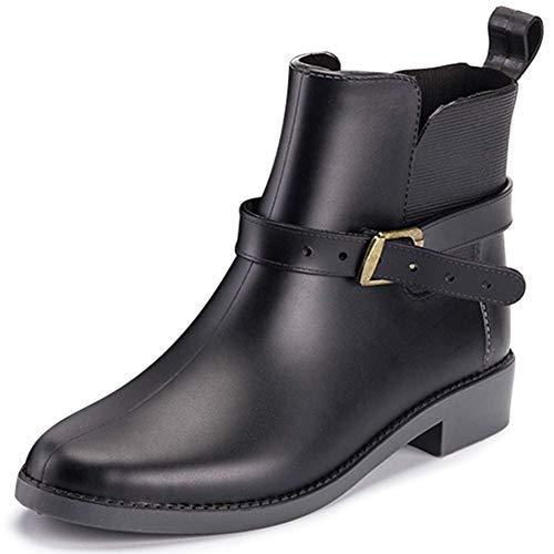 Bottes Pluie Femme Chelsea Botte Cheville Rain Boots Caoutchouc Jardin Bottines Imperméables Ankle Wellington Boots Noir 38