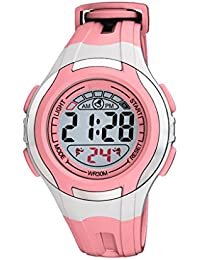 Vizion Digital Boys' & Girls' Watch (Black Dial Pink Colored Strap)