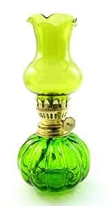 Lampe à huile Oil Lamp Kerosene Green Glass Lamp Emergency Light Hurricane Decor or Camping