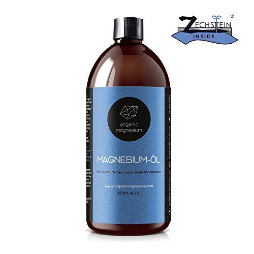 Ultra Pur MagnesiumÖl Spray - 1000ml | 100% Natürlich Reines Zechstein Öl von Organic Magnesium | Perfekt für Sport & Muskel entspannung | Flüssig Oil Konzentrat - Magnesium-Öl