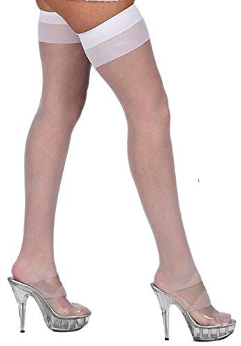 krautwear Damen Strumpfhose Offen Netzstrümpfe Halterlose Netz Straps Strümpfe Elegant Sexy Netzstrumpfhose Hoher Bund Schwarz Rot Weiss Neon Pink Grün Kostüm Fasching Karneval 80er (190weiss)
