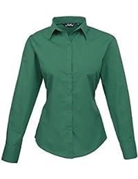 Blusa de manga larga de popelina para mujer 82009761a5f1e