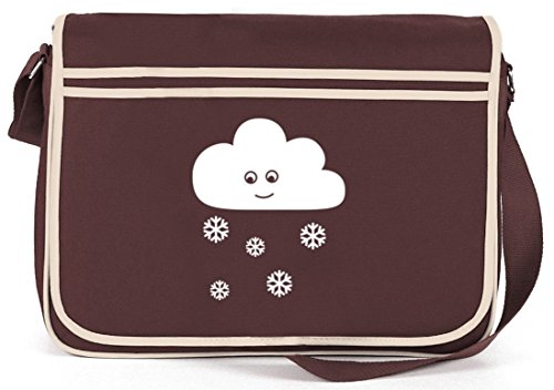 SNOW CLOUD, Weihnachten Winter Retro Messenger Bag Kuriertasche Umhängetasche Braun