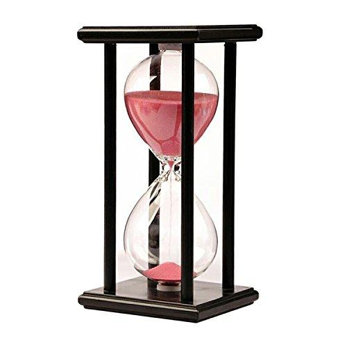 KKwell 15 Minute Rosa Sand Schwarz Holz Rahmen Hourglass, Lernen & Spielzeit Sanduhr