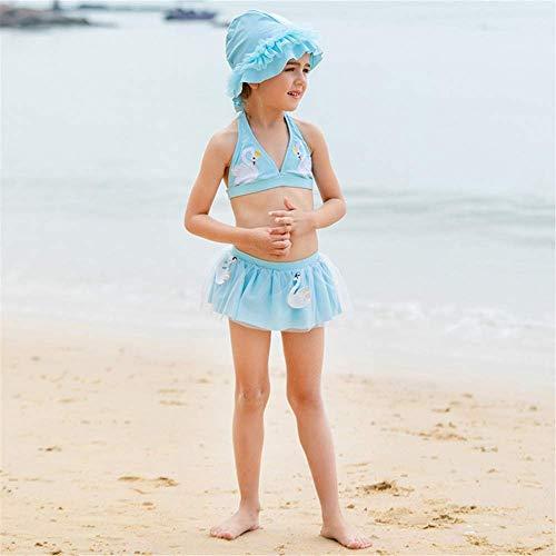 Mädchen/Blau/Rock Split dreiteiliger Badeanzug/Cute Swan Stickerei/Mit Flying Swim Cap/Bow/Fashion Lace Rock/Rock Bikini -