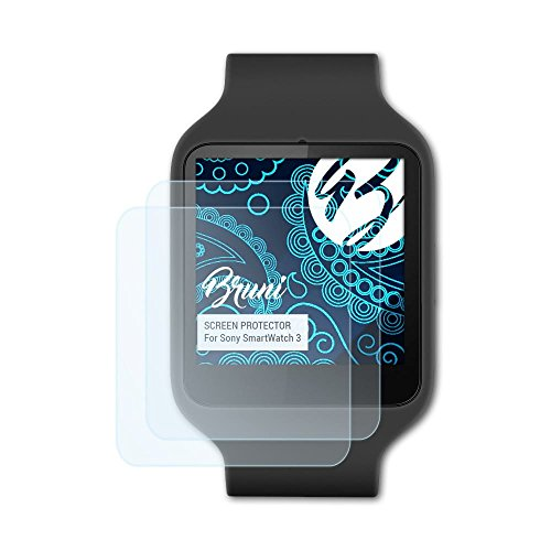 Bruni Schutzfolie für Sony SmartWatch 3 Folie, glasklare Bildschirmschutzfolie (2X)