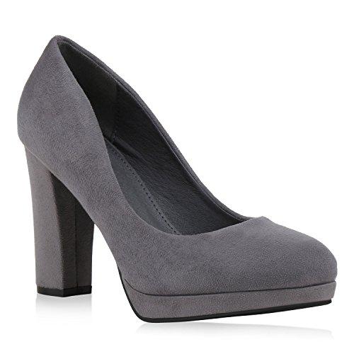 Damen Pumps Elegante Plateaupumps Wildleder-Optik Klassische Schuhe 145200 Grau Brito 40 Flandell