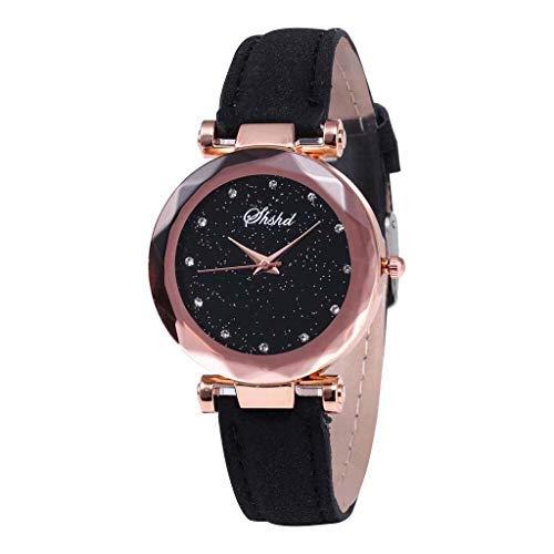 Neu!!!Damen Uhren Modisch Diamond Sternenhimmel Dial Armbanduhren, Bloodfin Damenuhren Wasserdichte Watches Quarzuhr mit Leder Uhrenarmbänder Schnalle Geschenk für Frauen Damen (Schwarz)
