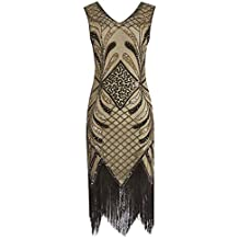 c8c637907 Lenfesh Mujeres 1920s Vestido Fiesta Retro años 20 Vestidos con Cuello en V  con Flecos Vestido