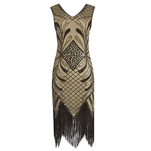 SANFASHION Damen Minikleider,Frauen Jahrgang 1920 Flapper Kleider Kostüm Dress Fransen - Teen Flapper Kostüm