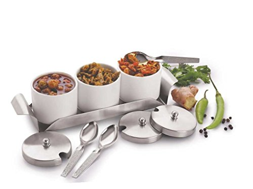 Arrison Stainless Steel & Polycarbonate Pickle Jar/ Container/ Pot/ Spice Pots Set with Spoons and Tray set