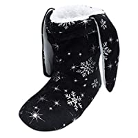 TEELONG Womens Teens Winter Slippers Cute Winter Snowflake Printed Slipper Shoes Casual Indoor Short Boots Black/Grey/Navy/Hot Pink Size 6 8 UK
