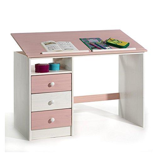 Kinderschreibtisch Schülerschreibtisch KEVIN, aus Kiefer weiß rosa pink lackiert, ...