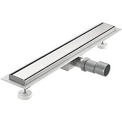 [neu.haus] Desagüe de ducha de acero inoxidable extremadamente plano 70 x 7cm – Para ducha a nivel del suelo con sifón - diseño moderno