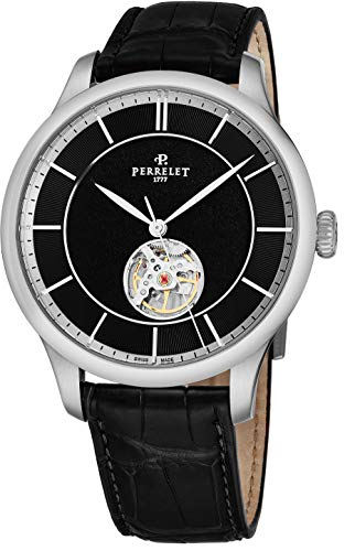 Perrelet Men's 42mm Alligator Leather Band Steel Case Automatic Watch A1087-7