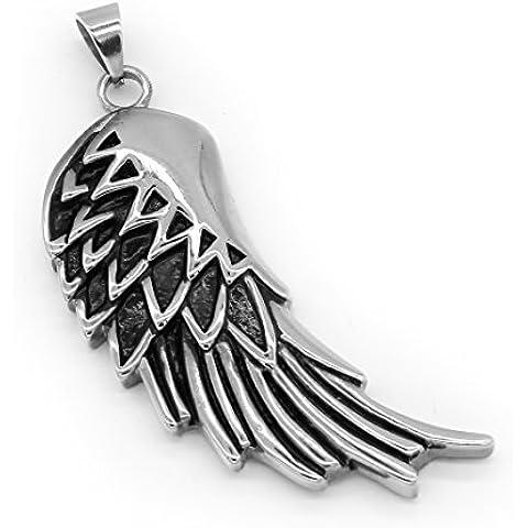 ICONIC Del par de joyas de acero inoxidable alas de plumas de moda colgante collar de plata de la cadena -con 23 pulgadas